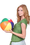 Girl with beach ball Royalty Free Stock Image