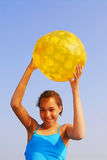 Girl with beach ball Stock Images