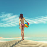 Girl with a beach ball Stock Photography
