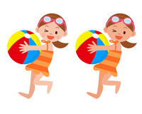 Girl with a beach ball Royalty Free Stock Image
