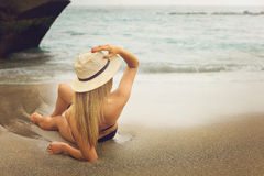 Girl on beach Stock Images