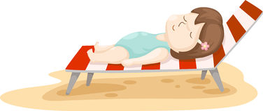 Girl on beach bed vector Royalty Free Stock Photos
