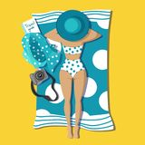 Tanned pretty young girl lying on beach stock illustration
