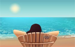 Girl, beach chair beach view butterfly vacation stock illustration