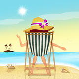 Girl on beach chair Royalty Free Stock Images