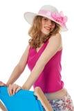 Girl on beach chair Royalty Free Stock Photos