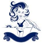 Girl beach club banner Stock Photo