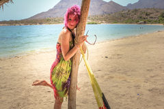 Tropical beach Woman. Beautiful young woman posing on a tropical beach, Baja Conception, California Sur, Mexico Stock Image