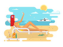 Girl on beach design flat. Summer vacation sea, young woman travel holiday. Vector illustration Royalty Free Stock Photos