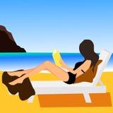 Girl on beach design flat Stock Image