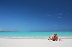 Girl on the beach of Exuma, Bahamas Royalty Free Stock Image