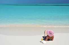 Girl on the beach of Exuma, Bahamas Stock Photos