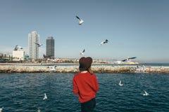 Girl birds sea freedom happiness Barcelona Spain stock photo