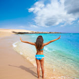 Girl on the beach Fuerteventura at Canary Islands Royalty Free Stock Photography