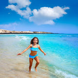 Girl on the beach Fuerteventura at Canary Islands Royalty Free Stock Image