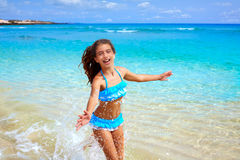Girl on the beach Fuerteventura at Canary Islands Stock Photo