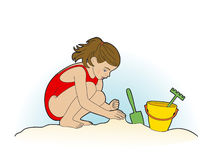 Girl and beach games. Girl on the beach playing in the sand Stock Illustration
