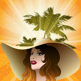 The girl in a beach hat Royalty Free Stock Photos