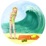 Girl on the beach illustration Stock Photos