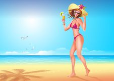 Girl on the Beach Illustration Stock Photography