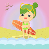 Girl on the beach Mascot cartoon great for any use. Vector EPS10. Stock Photography