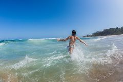 Girl Beach Ocean Swim royalty free stock photo