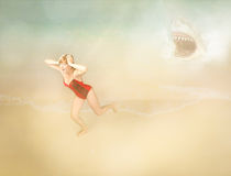 Girl in a beach problem with shark Royalty Free Stock Images