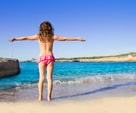 Girl beach rear view in San Antonio of Ibiza Royalty Free Stock Image