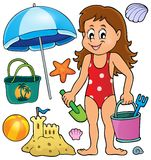 Girl and beach related objects theme set Royalty Free Stock Photo