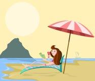 Girl on beach. Girl on relaxing beach chair in sea shore Stock Photo
