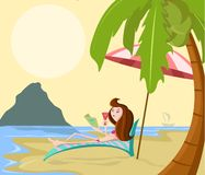 Girl on beach. Girl on relaxing beach chair in sea shore Royalty Free Stock Image