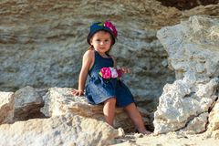 Girl on the beach by the sea Royalty Free Stock Photo