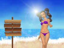 Girl on beach and signboard Stock Images