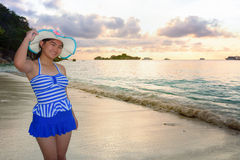 Girl on the beach at Similan Island, Thailand Stock Image