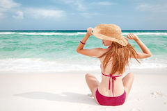 Girl on beach Royalty Free Stock Photo