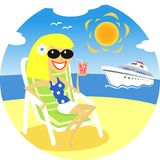 Girl on beach. Smiling girl on the beach vector illustration scene stock illustration
