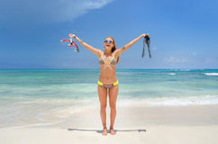 Girl at the beach with snorkel Royalty Free Stock Photos