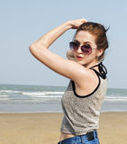 Girl Beach Summer Holiday Vacation Relaxation Concept Royalty Free Stock Photography