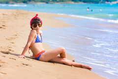 Girl on the beach in summer Royalty Free Stock Photos