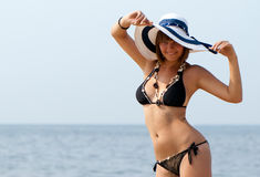 Girl on the beach in the summertime Royalty Free Stock Photo