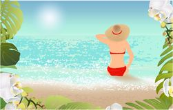 Girl on the beach and tropical leaves stock illustration
