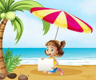 A girl at the beach under the umbrella with an empty signboard Stock Photos