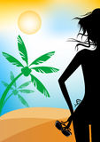 Girl on the beach, vacation silhouette Royalty Free Stock Photo