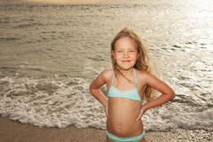 Girl on the beach. Vacations. Girl on the beach. Sunset Royalty Free Stock Photography