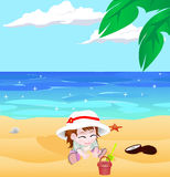 Girl on a beach vector Stock Image