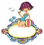 Girl at the beach - vector  framework. Vector  framework with space for your text Royalty Free Stock Photos