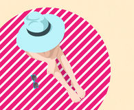 Girl on the beach. Vector illustration of the girl with big hat sitting on the beach Royalty Free Stock Photos