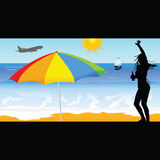 Girl on the beach vector illustration Royalty Free Stock Image