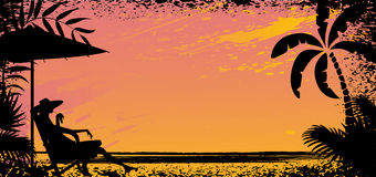 Girl on beach. Vector silhouette banner Royalty Free Stock Images