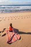 Girl Beach Waves Towel Stock Image